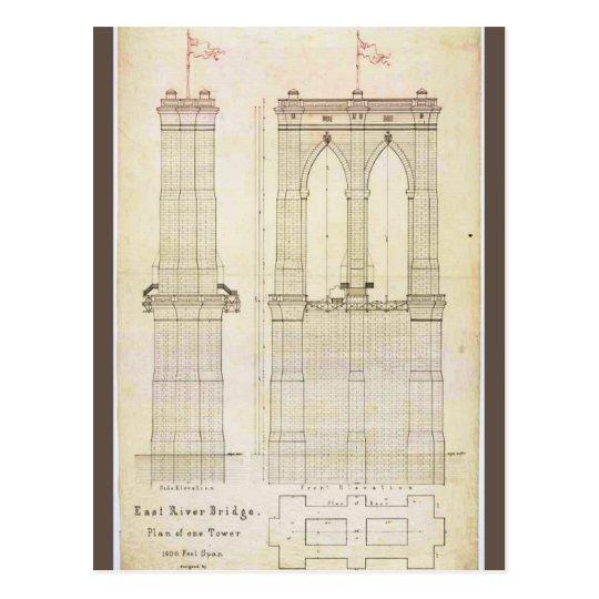 Postal Vintage del modelo de la arquitectura del puente