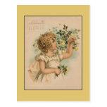 Postal Vintage dibujo de los niños hermosos de junio de