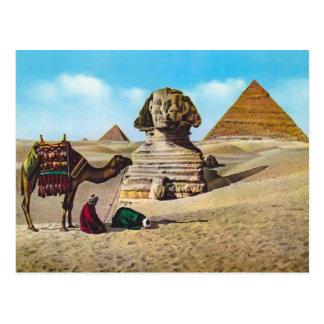 Postal Vintage Egipto, esfinge excavada, Giza