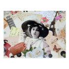 Postal Vintage elegante dama con sombrero, rosas y cartas