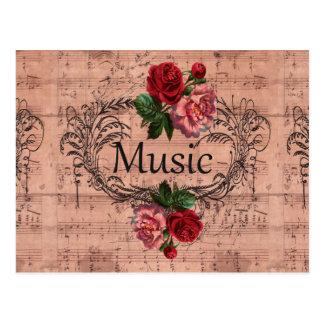 Postal Vintage floral para el amor de la música