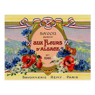 Postal Vintage francés floral bonito Fleurs aux. D'Alsace