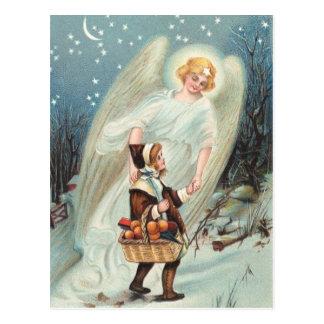 Postal Vintage gel de protección con chicas en la nieve