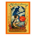Postal Vintage Halloween, calabaza, chica, lindo