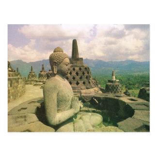 Postal Vintage Indonesia, templo de Borobodur