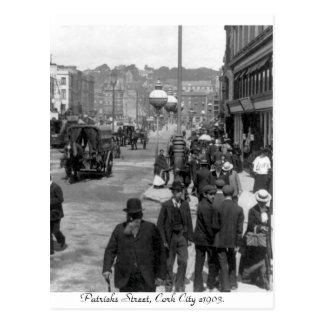 Postal Vintage Irlanda, la calle de Patrick, corcho 1903