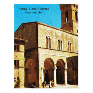 Postal Vintage Italia, Pienza, Siena, Palazzo Communale