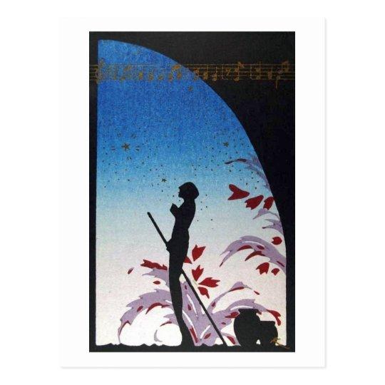 Postal Vintage JAPONÉS de la música del arte
