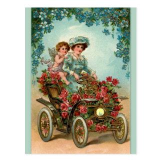 Postal Vintage lady conduce automóvil con ángel