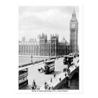 Postal Vintage Londres, Big Ben, puente de Westminster