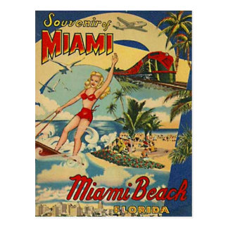 Postal Vintage Miami Beach, la Florida, los E.E.U.U. -