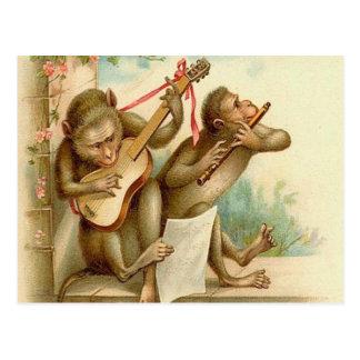 Postal Vintage, monos que tocan los instrumentos