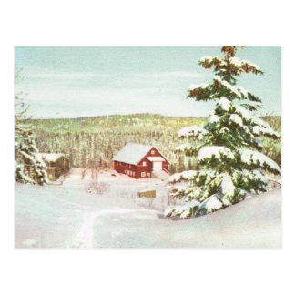 Postal Vintage Noruega, invierno en las montañas