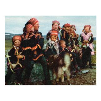 Postal Vintage Noruega, Laponia, familia 1950 de Sami