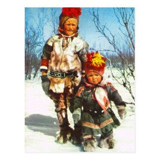 Postal Vintage Noruega, Laponia, niños de Sami en la