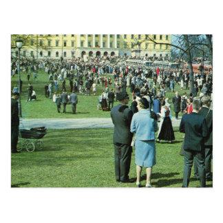 Postal Vintage Noruega, Oslo, jardines del palacio