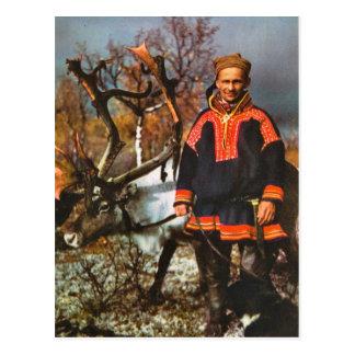 Postal Vintage Noruega, Sami y su reno