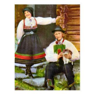 Postal Vintage Noruega, traje tradicional noruego