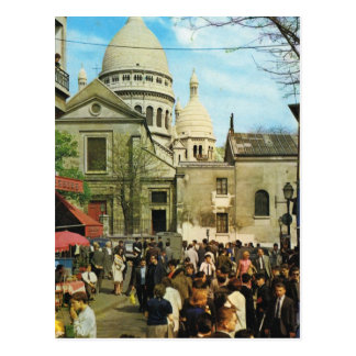 Postal Vintage París, París Montmatre, Place de Theatre