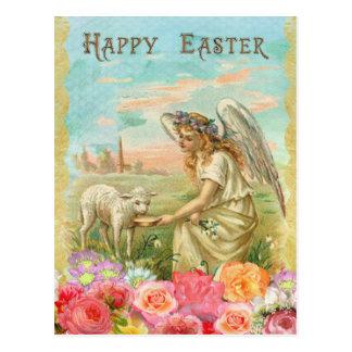 Postal Vintage Pascua. Ángel y cordero