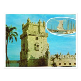 Postal Vintage Portugal, torre del monstery de Jeronimos,