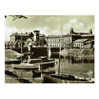 Postal Vintage puerto de Suecia, Malmo!