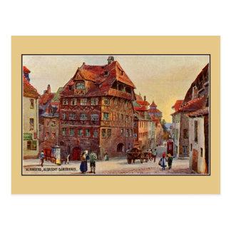 Postal Vintage que pinta arte de la casa de Nürnberg