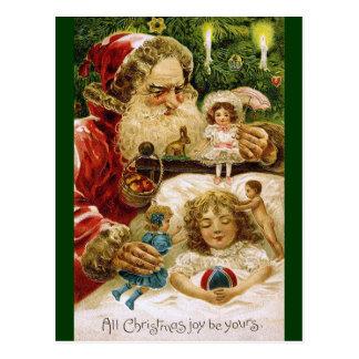 Postal Vintage Santa con las muñecas