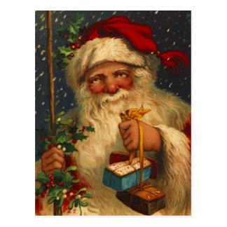 Postal Vintage Santa con los copos de nieve que nievan de