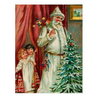 Postal Vintage Santa con los niños