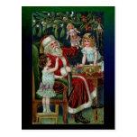 Postal Vintage Santa con niños, regalos y Mistletoe