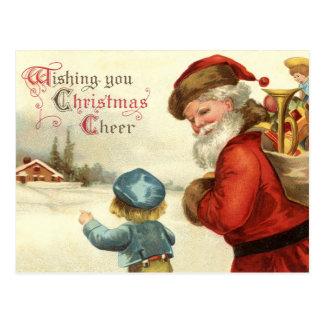 Postal Vintage Santa del día de fiesta del navidad y