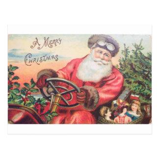 Postal Vintage Santa en su coche con esperar de los niños