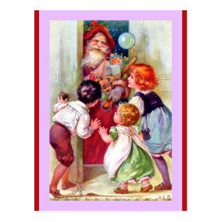 Postal Vintage Santa y niños (una copia de Oilette del