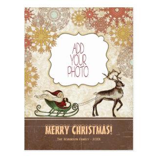 Postal Vintage Santa y reno