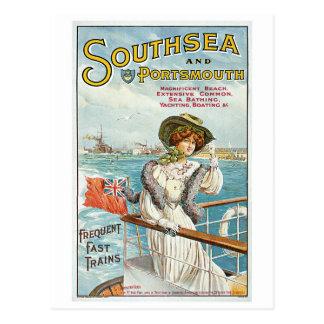 Postal Vintage Southsea, anuncio del viaje de Portsmouth