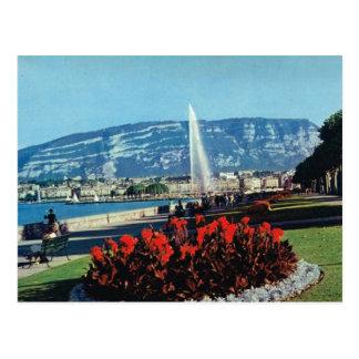 Postal Vintage Suiza, Ginebra, l'eau del jet, jardines