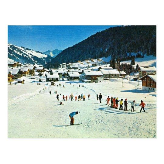Postal Vintage Suiza, Morgins Ecole de ski