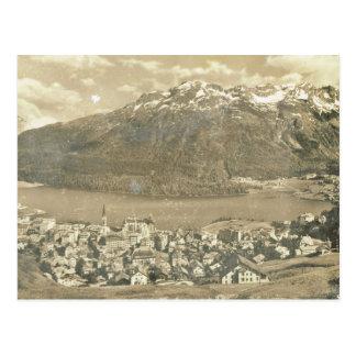 Postal Vintage Suiza, St Moritz y lago 1906