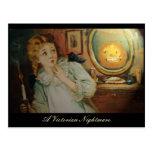 Postal Vintage Victorian Spooked Girl & Pumpkin in Mirror
