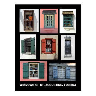 Postal Vintage Windows de St Augustine, la Florida