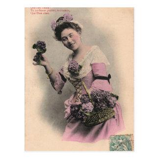 postal violeta de la señora del victorian