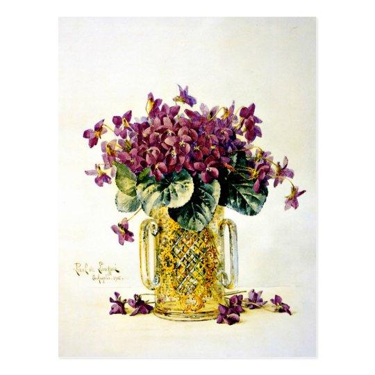 Postal Violetas - flores púrpuras delicadas en un florero