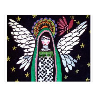 Postal Virgen del ángel del arte de Guadalupe por el