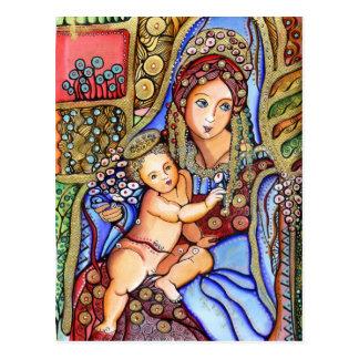 Postal Virgen María y pintura del niño de Jesús