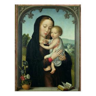 Postal Virgen y niño (aceite en el panel)