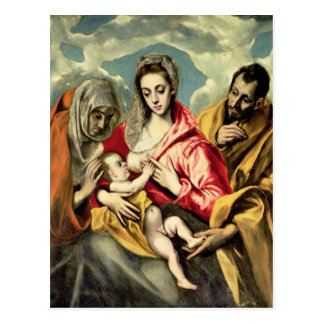 Postal Virgen y niño con los SS. Anne y José