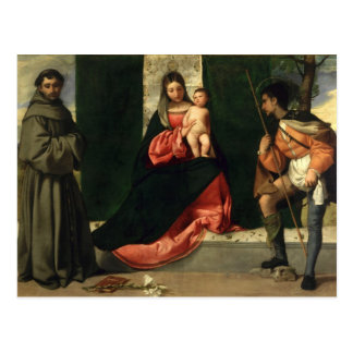 Postal Virgen y niño con St Anthony de Padua