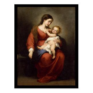 Postal Virgen y niño de Cristo