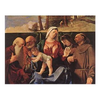 Postal Virgen y niño de la loteria de Lorenzo con los